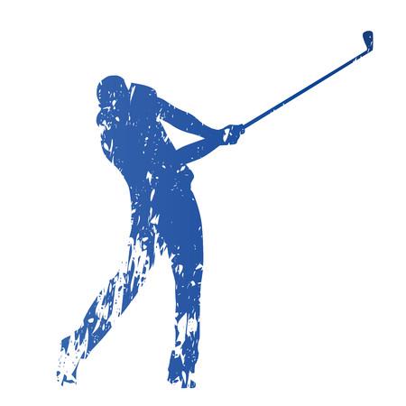 columpio: jugador de golf, abstracto vector de la silueta sucio