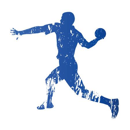terrain de handball: joueur de handball, résumé grungy vecteur silhouette