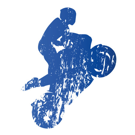 wheelie: Motorcycle rider, wheelie, abstract grungy vector silhouette