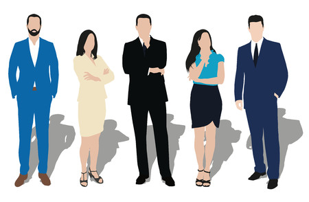 Collection of business people illustrations in different poses. Men and women at work. Teacher, lawyer, manager, salesman, dealer, merchant, model, secretary, disciple, office workers. Formal dress, wear, clothes