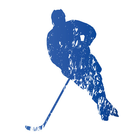 ice hockey player: Ice hockey player, abstract grungy vector silhouette