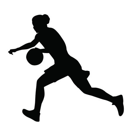 baloncesto chica: El jugador de baloncesto, mujer, niña, corre con la bola