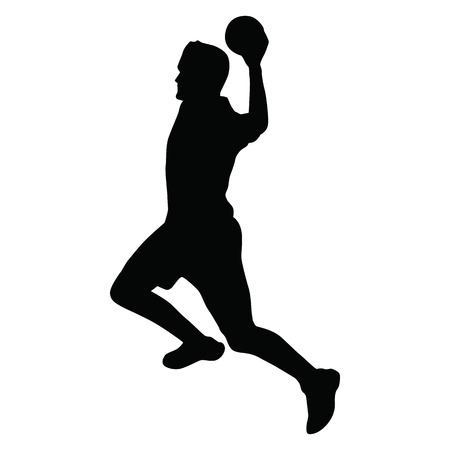 attacker: Handball player vector silhouette, side view