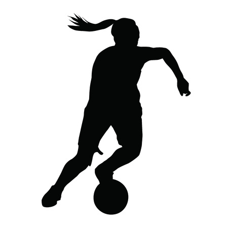 athlete: Basketball player vector silhouette, woman, girl, running with ball