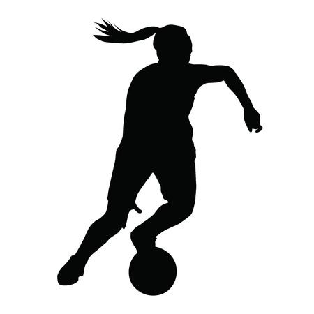 Basketbalspeler vector silhouet, vrouw, meisje, het lopen met bal