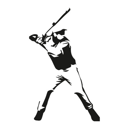 black: Baseball player vector isolated illustration Illustration