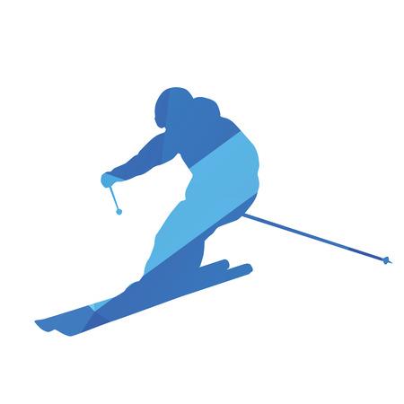 downhill: Downhill skier, vector silhouette Illustration