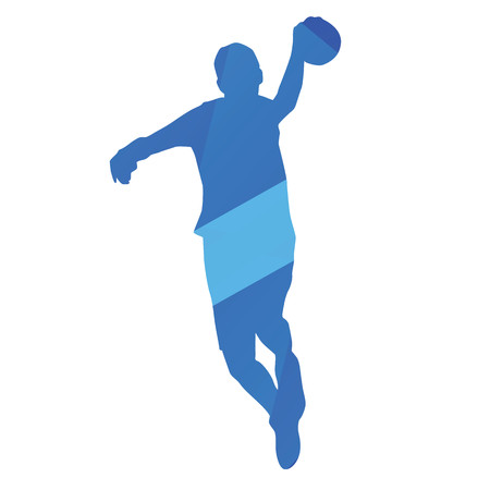 shoots: Handball player shoots a jump, vector silhouette Illustration