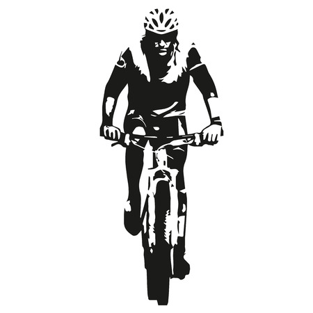 Mountain biker, abstract vector bicycle rider silhouette Çizim