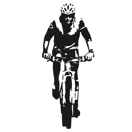 bicyclette: Mountain biker, r�sum�, vecteur cycliste silhouette
