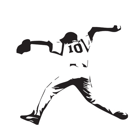 sports team: Baseball player throws ball, baseball pitcher, vector abstract silhouette illustration