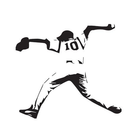 team sports: jugador de béisbol lanza la bola, el lanzador de béisbol, el vector resumen ilustración silueta Vectores