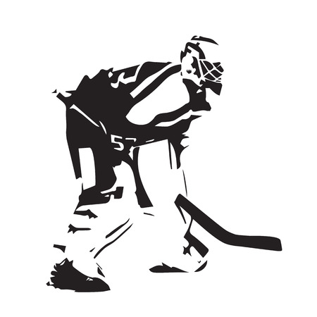 Le gardien de hockey sur glace, résumé, vecteur, illustration