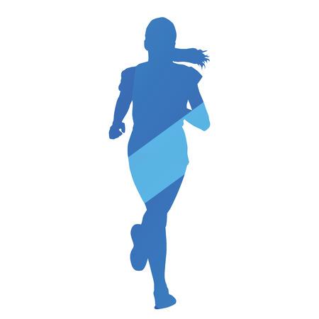 jog: Running girl, run, jog, abstract blue vector silhouette