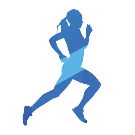 woman run: Running woman, run, jog, abstract blue vector silhouette Illustration