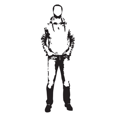 young man jeans: Standing man abstract vector silhouette Illustration