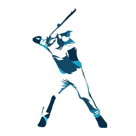 Estratto giocatore di baseball blu, illustrazione vettoriale isolato. Baseball battitore Vettoriali