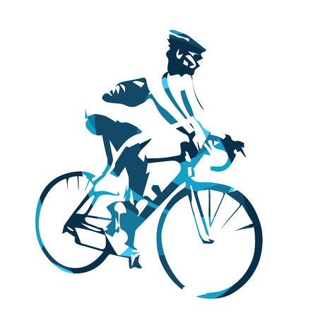 Road cycling, abstract blue vector cyclist illustration. Bicyclist