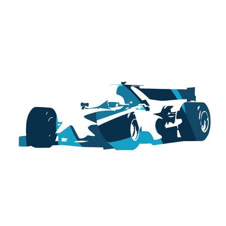 racecar: Abstract blue formula racing car. Isolated vector silhouette. Race car Illustration