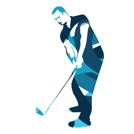 Abstract blue golf player, vector golfer illustration