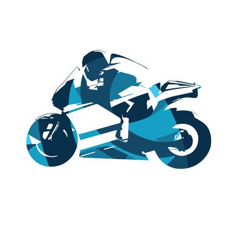 motorcycle road: Motorcycle road racing, abstract blue vector illustration. Motorbike