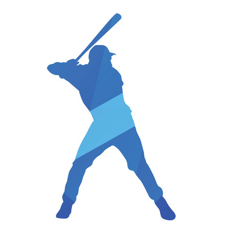 swinging: Blue baseball batter swinging bat, vector silhouette