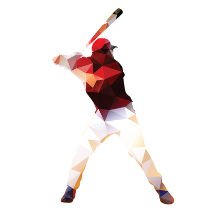 tee off: Abstract baseball player. Geometrical isolated silhouette. Baseball batter prepares to tee off