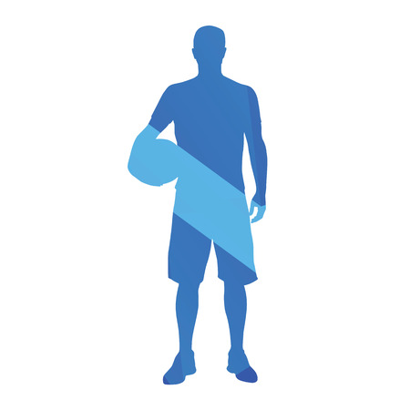 sport man: Man standing with ball, abstract blue vector silhouette