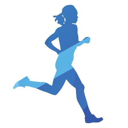 jog: Running woman, run, jog, abstract blue vector silhouette Illustration