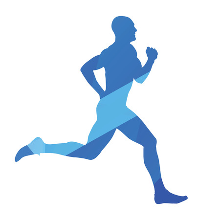 jog: Running man, run, jog, abstract blue vector silhouette Illustration