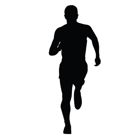 Runner vector silhouette, isolated running man, front view