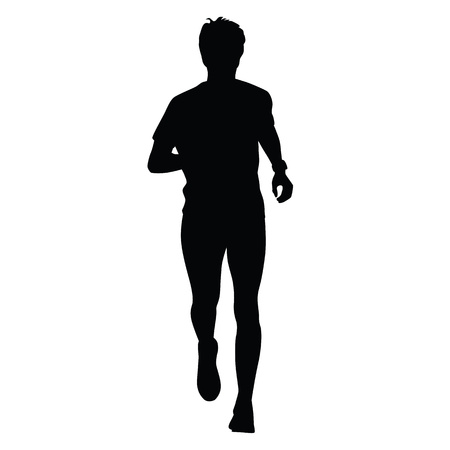 black men: Running silhouette amateur runner. Watch on hand. Jogger, front view