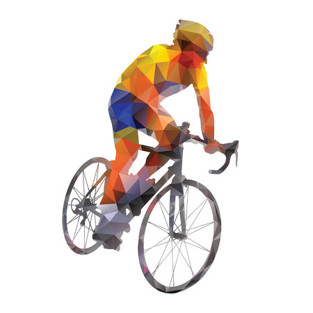 Cycling. Abstract geometrical vector road cyclist on his bike 일러스트