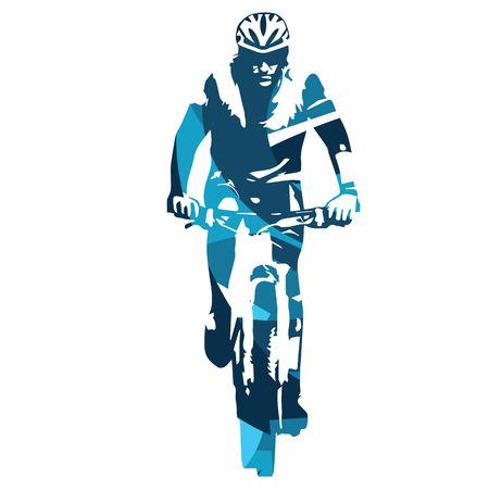 silueta ciclista: ciclista de montaña vista frontal. ilustración vectorial azul resumen