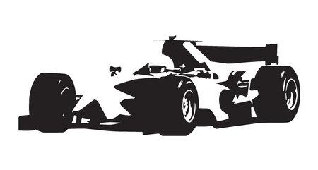 Formelauto, isolierte Vektorillustration, Skizze, asbtract Rennwagenschattenbild
