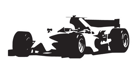 Formule auto, vector geïsoleerde illustratie, schets, asbtract raceauto silhouet