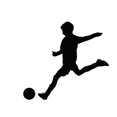 Young soccer player kicking a ball, isolated vector silhouette footballer. Kid, young boy. Team sport