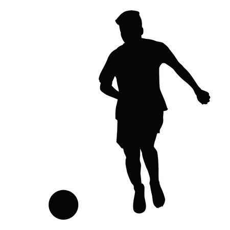 silouette: Footballer coasted ball, vector isolated silhouette. Soccer player silhouette Illustration