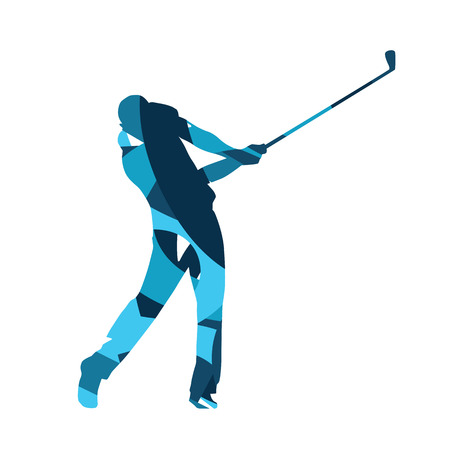 golf player: Golf player vector isolated silhouette. Abstract blue golfer