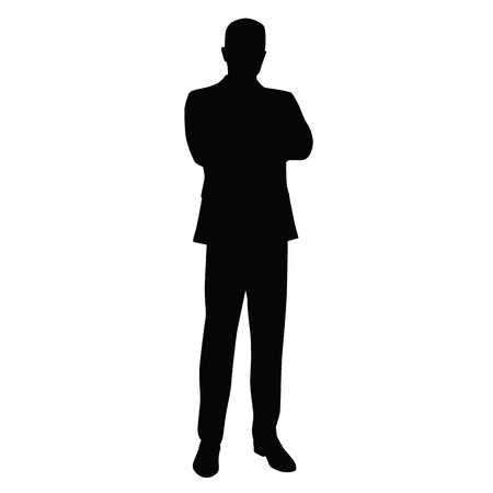 L'homme d'affaires dans un costume d'affaires se tient avec les bras croisés, vue de face. professeur, avocat, fonctionnaire, homme d'affaires, entrepreneur, patron, directeur. Isolated silhouette vecteur. Vecteurs
