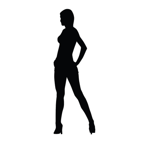slim girl: Sexy woman vector silhouette. Slim girl standing with legs apart and hands on hips