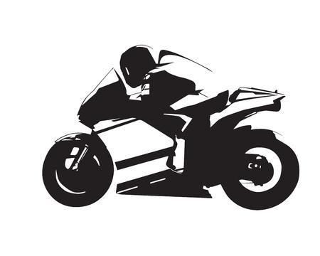 Motocicleta ilustración vectorial, aislado en moto por carretera abstracta silueta, vista lateral
