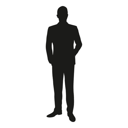 Vector silhouette of a man standing in a suit at the lecture. Businessman, teacher, lawyer, merchant, dealer manager, engineer, politician, presenter, actor Ilustracja