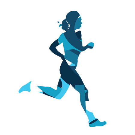 runing: Runing woman. Abstract blue silhouette of running woman, girl run