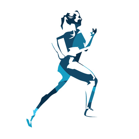Running woman abstract blue vector illustration. Run, sport, active people Illustration