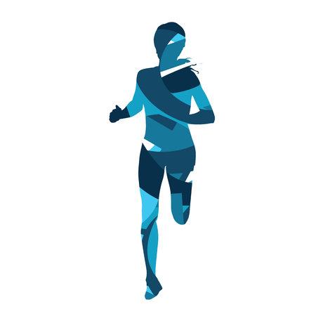 Corrida de la mujer. silueta azul Extracto de la mujer funcionamiento, corredor chica Ilustración de vector