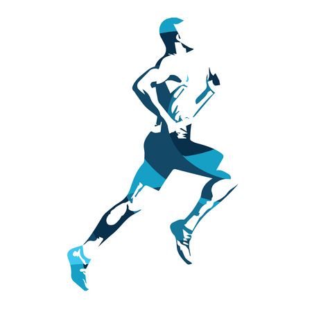 Abstract blue vector runner. Running man, vector isolated illustration. Sport, athlete, run, decathlon Ilustração