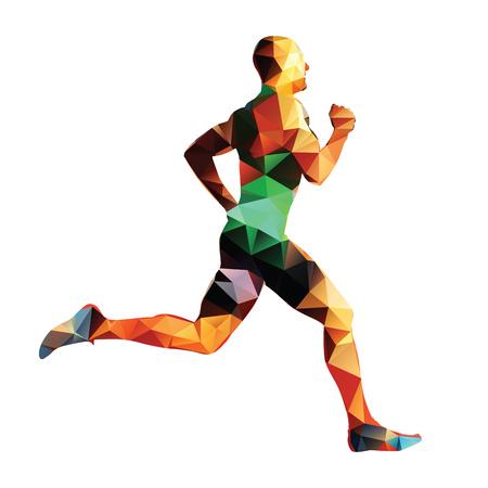 Running man, geometrical vector silhouette Illustration