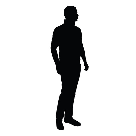 rolled up: Young man in jeans and sweater stands and looks around. isolated silhouette of slender, handsome man. Slim tall sports figure, rolled up sleeves