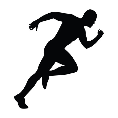 Sprinting man silhouette. Sprint, fast run. Runner starts running. Start.